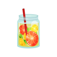 Fresh detox drink with slices of grapefruit, lemon and lime. Delicious and healthy cocktail. Natural beverage in glass jar with red straw. Flat vector for cafe or restaurant menu