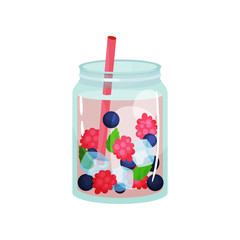 Delicious detox water with raspberry, blueberry, ice cubes and pink straw. Refreshing drink. Organic and healthy beverage. Healthy lifestyle theme. Flat vector icon