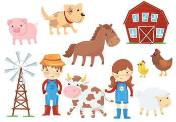Flat vector illustration of various domestic animals livestock, birds, kids in blue working overalls, wind pump, wooden barn. Farm theme. Set of cartoon icons