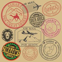 Travel stamps or symbols set Africa
