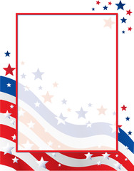 United States of American Flag Border with Stars and Stripes