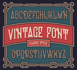 Vintage font set with old label design template