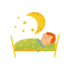 Cartoon character of red-haired boy sleeping in bed under warm blanket. Big yellow moon and little stars. Bedtime concept. Daily routine. Colorful flat vector design