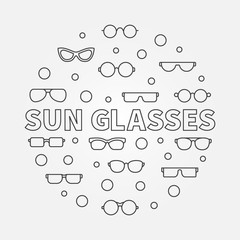 Sun glasses vector round illustration made with linear icons