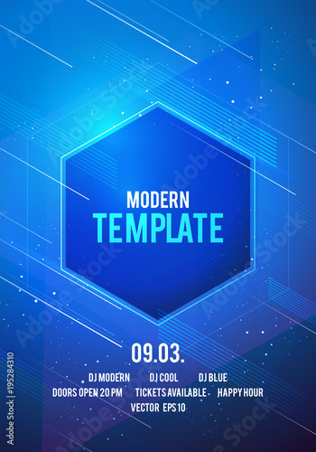 Vector illustration dance party poster background template with glow ...
