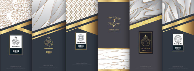 Collection of design elements,labels,icon,frames,for packaging,design of luxury products. for perfume,soap,wine,lotion.Made with golden foil.on silver and marble background.vector illustration