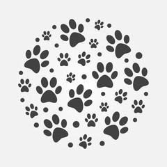 Dark dog footprints round vector concept illustration