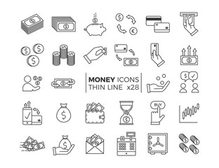 Money and Finance icons. Vector thin line pictograms of different economy subjects - savings, salary, payments, transactions.