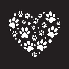 White paw prints in heart shape vector minimal illustration
