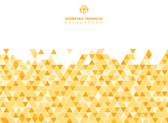 Abstract yellow geometric triangle structure background and texture with copy space.