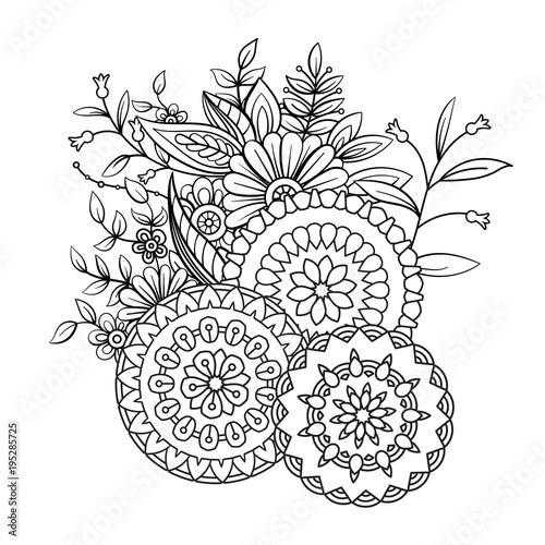 Adult Coloring Book Page With Flowers And Mandalas Floral Pattern In Black White