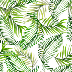 Beautiful bright watercolor pattern with tropical leaves.