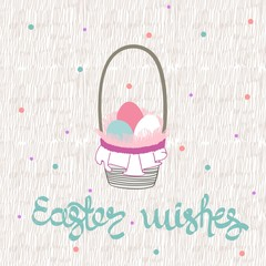 Hand drawing greeting card with basket of eggs