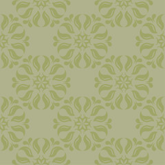 Olive green floral seamless pattern