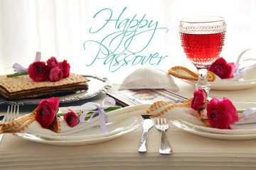 Pesah celebration concept (jewish Passover holiday festive table)