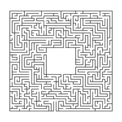 Complex maze puzzle game 3 (high level of difficulty). Labyrinth with free space (empty panel) for your character or text