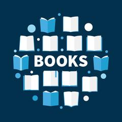 Books round illustration. Vector book circular symbol