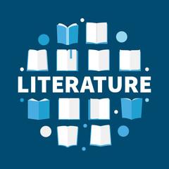 Literature round flat vector illustration - modern symbol