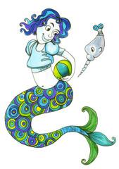 mermaid girl  сard