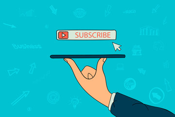 Button subscribe on businessman hand