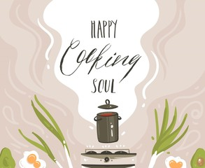 Hand drawn vector abstract cartoon cooking class illustrations poster with preparing food scene,soup pan,vegetables and Happy soul cooking handwritten modern calligraphy isolated on white background