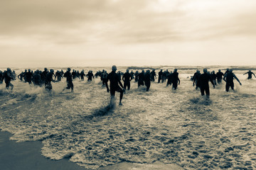Triathlon Athletes Start Beach Ocean Swim