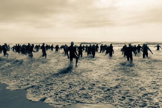 Triathlon Athletes Start Beach Ocean Swim
