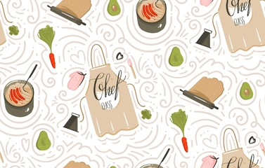 Hand drawn vector abstract modern cartoon cooking time fun illustrations icons seamless pattern with vegetables,apron,food,kitchen utensils and modern calligraphy isolated on white background