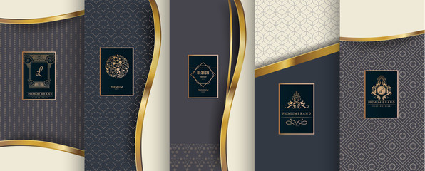 Collection of design elements,labels,icon,frames,for packaging,design of luxury products. for perfume,soap,wine,lotion.Made with golden foil.Isolated .Isolated on blue background. vector illustration