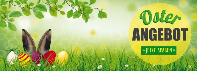Osterangebot Banner - Grüner Park mit Ostereiern und einem Hasen im Gras