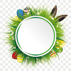 Easter Eggs Hare Ears Circle Label Transparent