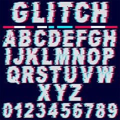 Printed kitchen splashbacks Draw Glitch Effect Fonts Letters and Numbers Vector