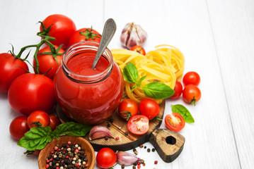 Jar with tomato sauce