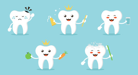 Set, collection of cartoon teeth characters, nice and smiling, doing different activities to keep themselves healthy and clean. Cute dental care vector illustrations.