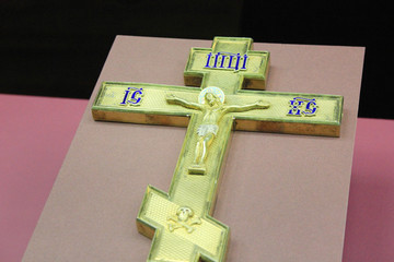 Christian Altar Cross for Church or Cathedral Isolated. Classic Religious Orthodox Symbol Close Up View.