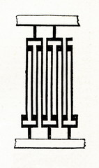 Reed - part of bead weaving loom (from Meyers Lexikon, 1896, 13/673)