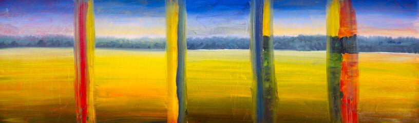 Poster de jardin Melon Oil painting set of 5 parts - yellow landscape, summer field, warm day, blue sky and forest wood artwork modern art illustration