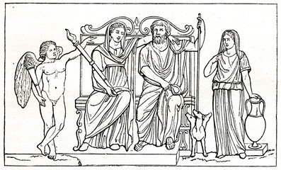 Persephone, Hades and three-headed dog Cerberus; marble relief (from Meyers Lexikon, 1896, 13/683)