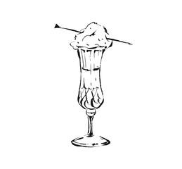 Hand drawn vector abstract artistic cooking ink sketch illustration drawing of champagne drink in wineglass with cotton candy isolated on white background
