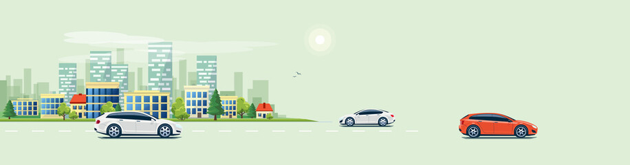 Flat vector cartoon style illustration of urban landscape road with cars, skyline city office buildings in small town isolated on green background. Traffic on the street. Free space to place the text.