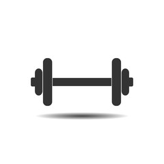 Dumbbell icon, barbel icon. Fitness sign. Vector illustration. Flat design.