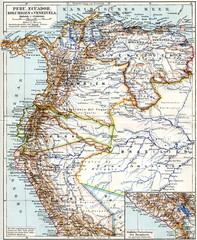 Map of Peru, Ecuador, Colombia and Venezuela ca. 1890 (from Meyers Lexikon, 1896, 13/704/705)