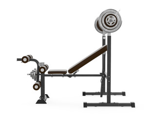 Multifunctional gym machine, right view isolated on white background. 3D Rendering, Illustration.