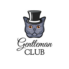 Cartoon cat wearing in top hat. Gentleman cat. Illustration.