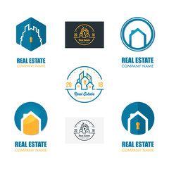 Set of Modern Real Estate Logo Template. Abstract House Logotype Icon Design Vector Illustration