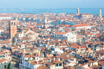 Aerial city view of Venice, Italy during misty morning in sommer. Tourism background concept.