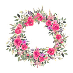 Watercolor flowers, leaves. Wreath, floral frame
