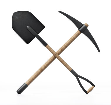 Shovel and pick axe isolated on white background. 3D illustration