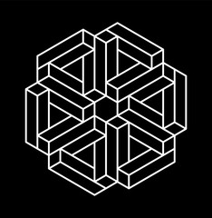 Impossible shapes. Optical Illusion. Vector Illustration isolated on white. Sacred geometry. Black lines on a white background.