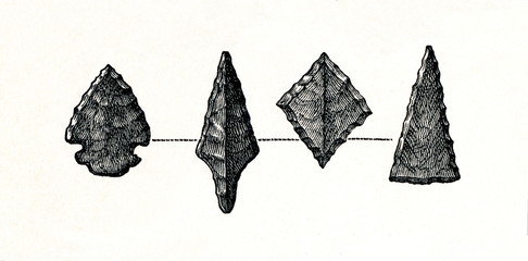 Stone arrowheads from prehistoric stilt-house settlement (from Meyers Lexikon, 1896, 13/754/755)